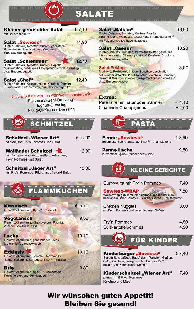Sowieso Burglengenfeld Speisekarte