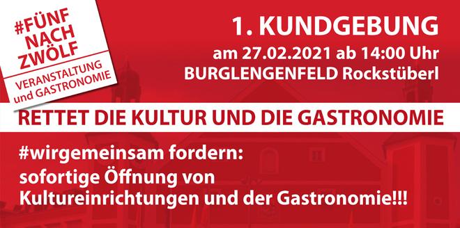 """Kundgebung: """"Rettet die Kultur und Gastronomie!"""""""